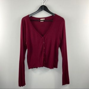 Live in the Moment crop button maroon cardigan